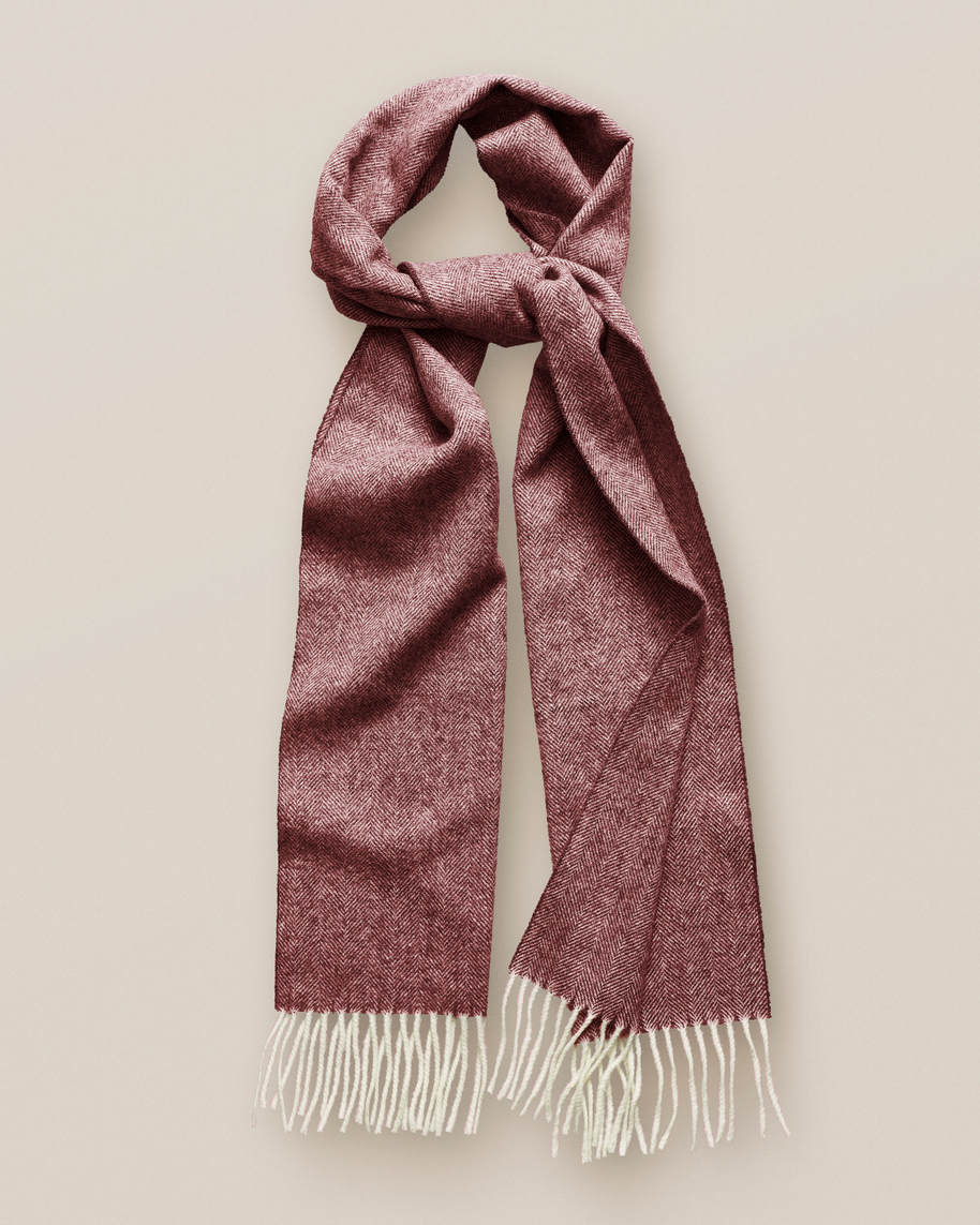 Red Herringbone Wool Scarf