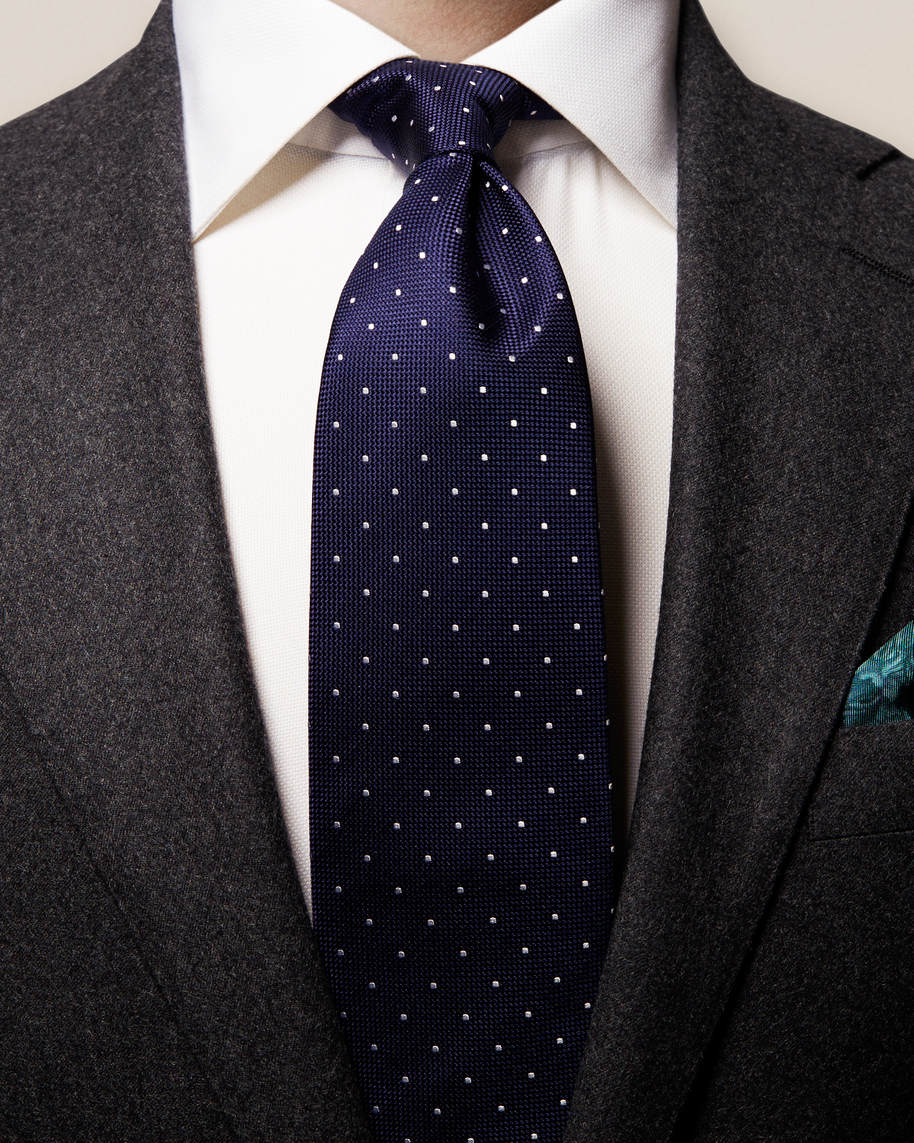 Dark Blue Polka Dot Tie - image 1