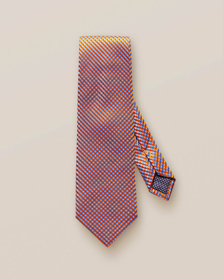 Orange Geometric Silk Tie - image 2