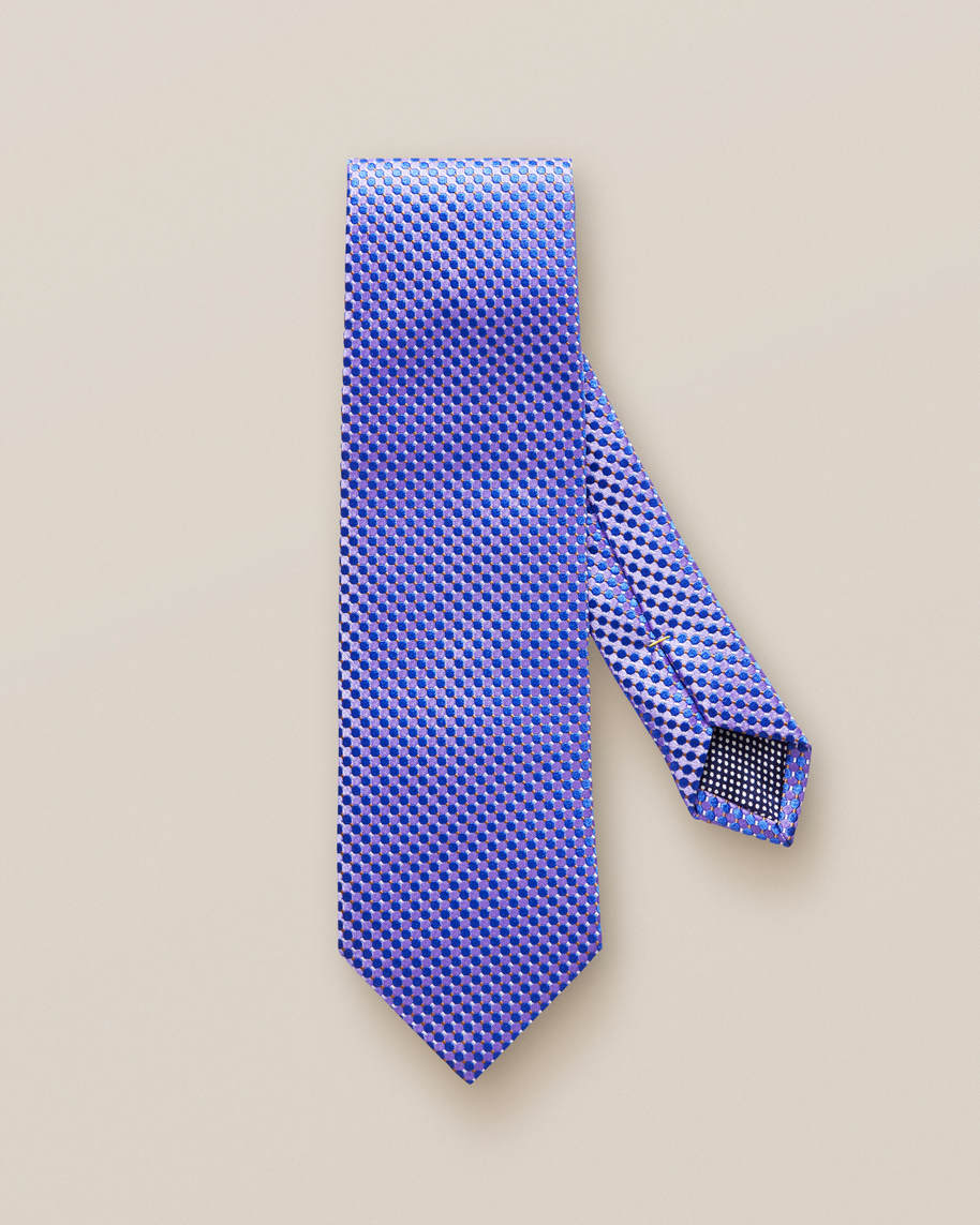 Purple Geometric Silk Tie - image 2