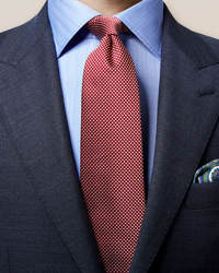 Red Geometric Woven Tie - image 1