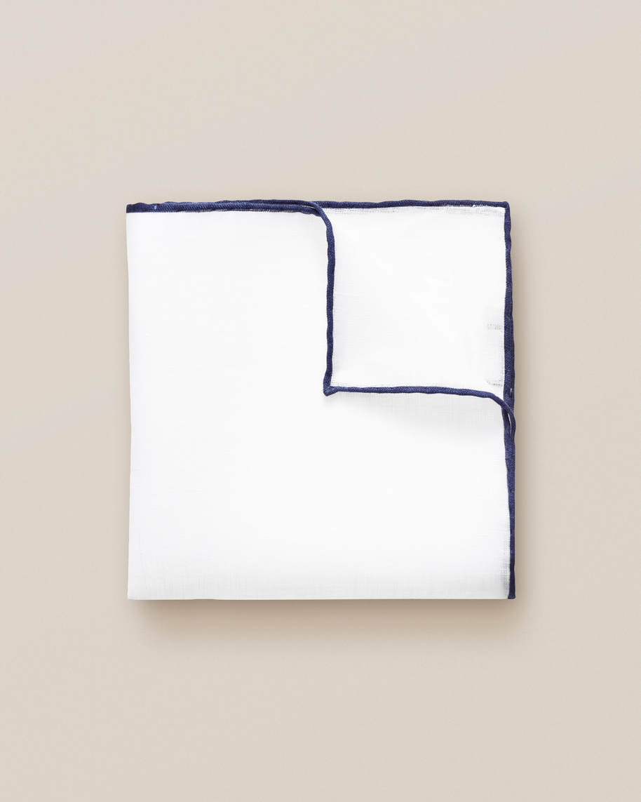 Dark Blue Linen Pocket Square - image 1