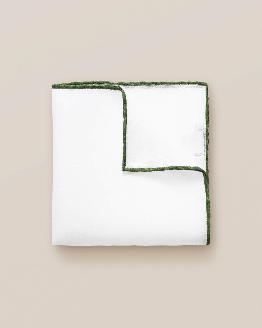 Green Linen Pocket Square - image 1