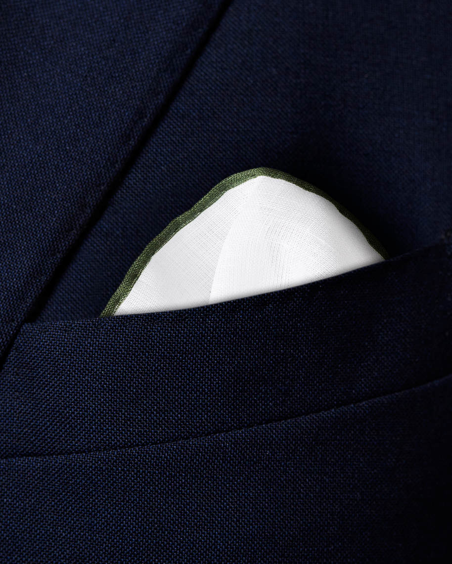 Green Linen Pocket Square - image 3