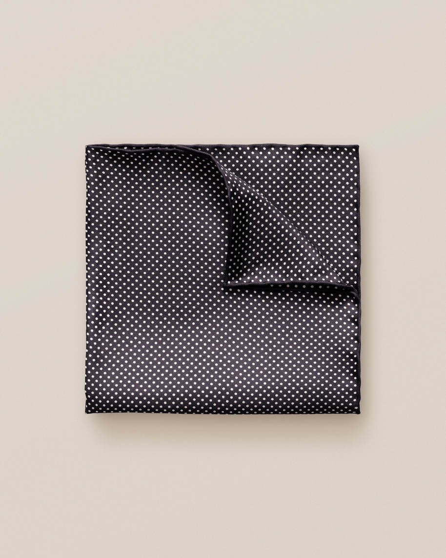 Black Polka Dots Silk Pocket Square - image 1