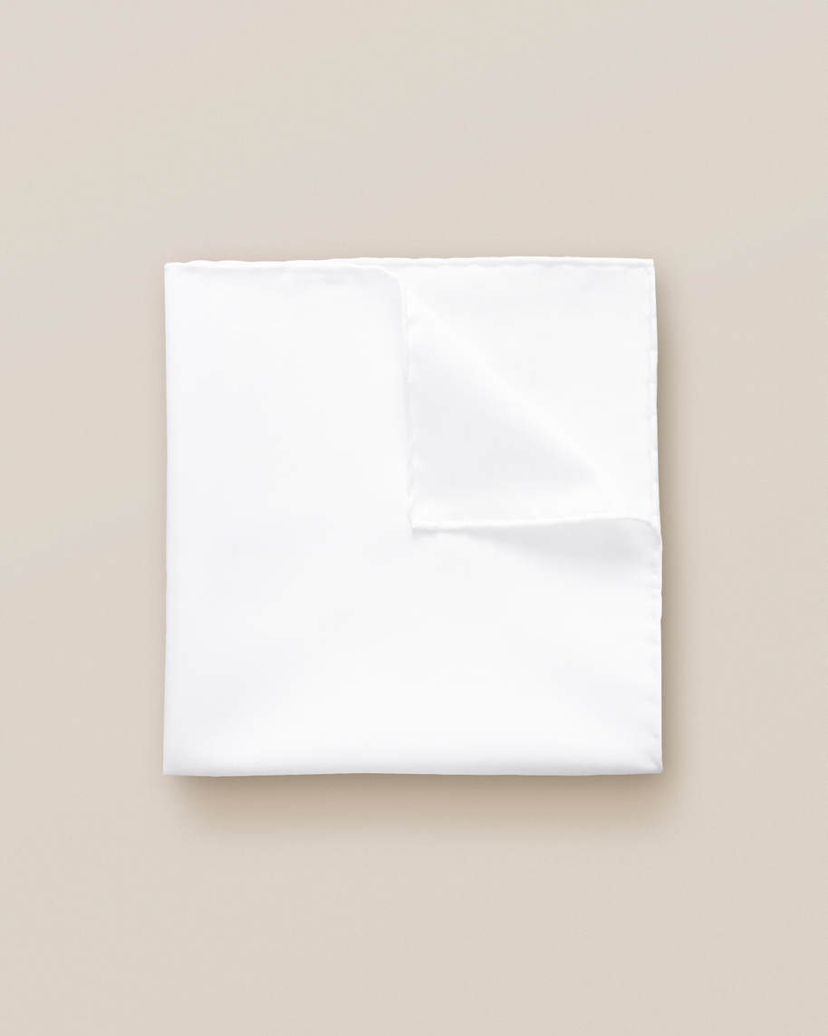 White Signature Twill Pocket Square