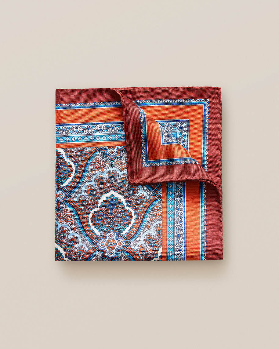 Orange Paisley Print Pocket Square - image 1