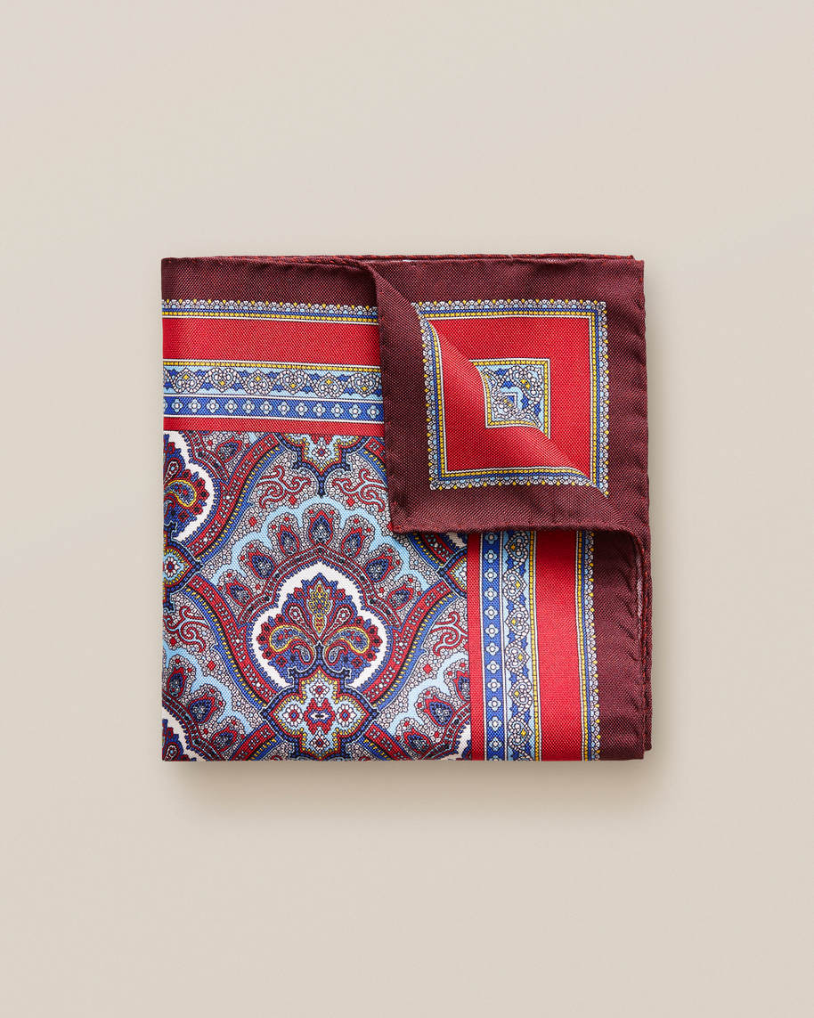 Red Paisley Print Pocket Square - image 1