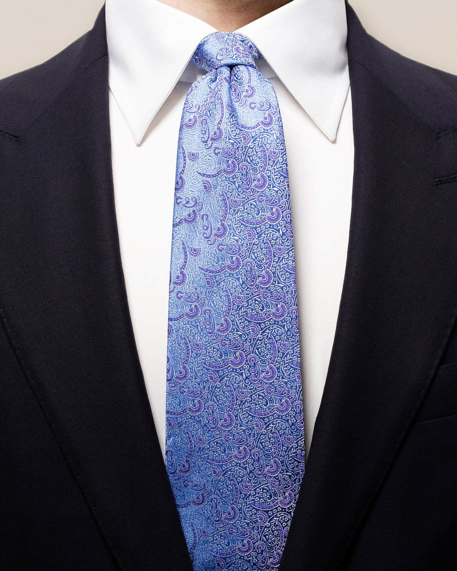 Purple & blue paisley silk tie