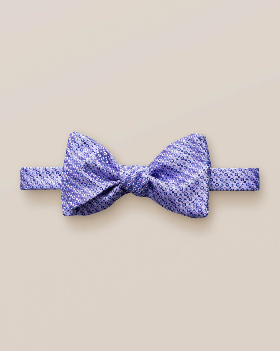 Purple dots & squares bow tie – self tied