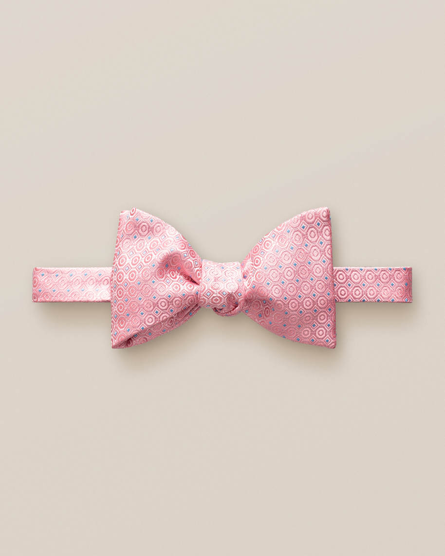 Pink dotted bow tie – self tied