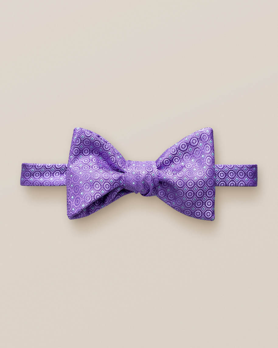 Purple dotted bow tie – self tied
