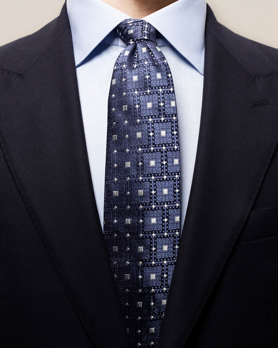 Grey & blue geometric tie