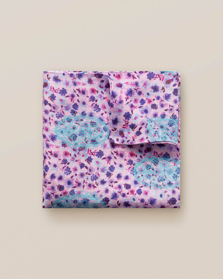Pink floral linen pocket square