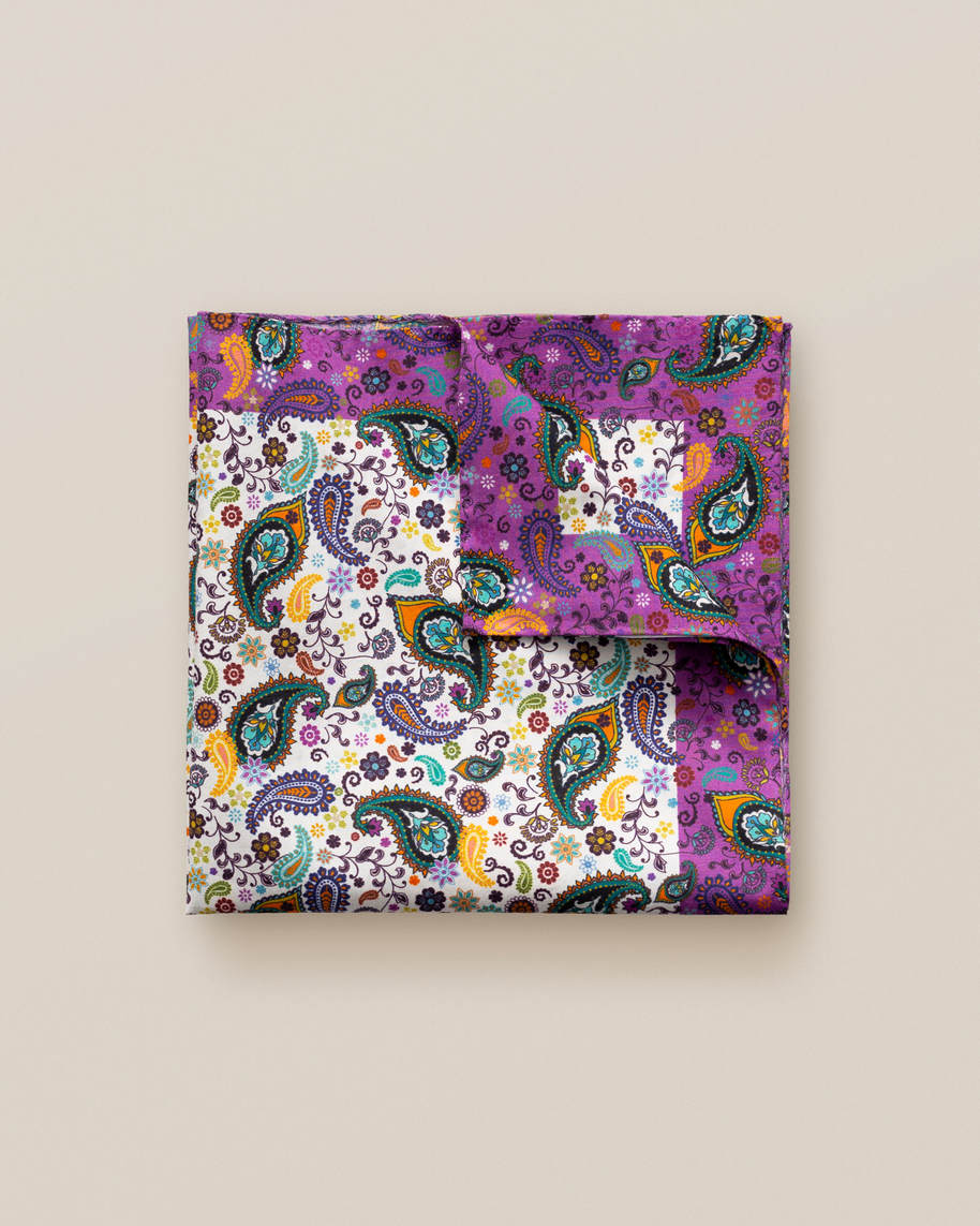 Multi paisley cotton pocket square