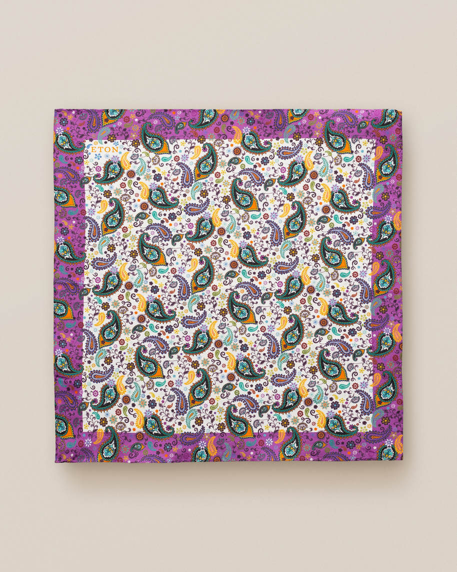 Multi paisley cotton pocket square - image 2