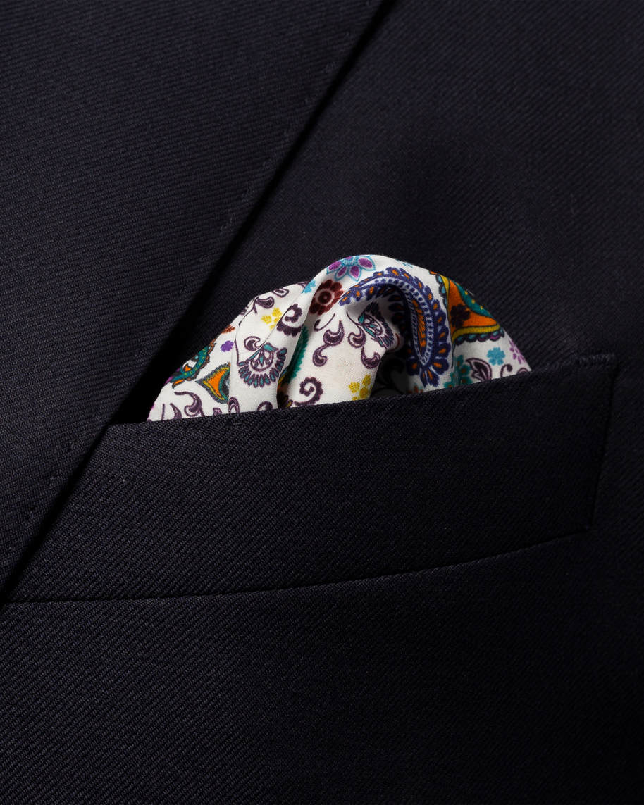 Multi paisley cotton pocket square - image 3