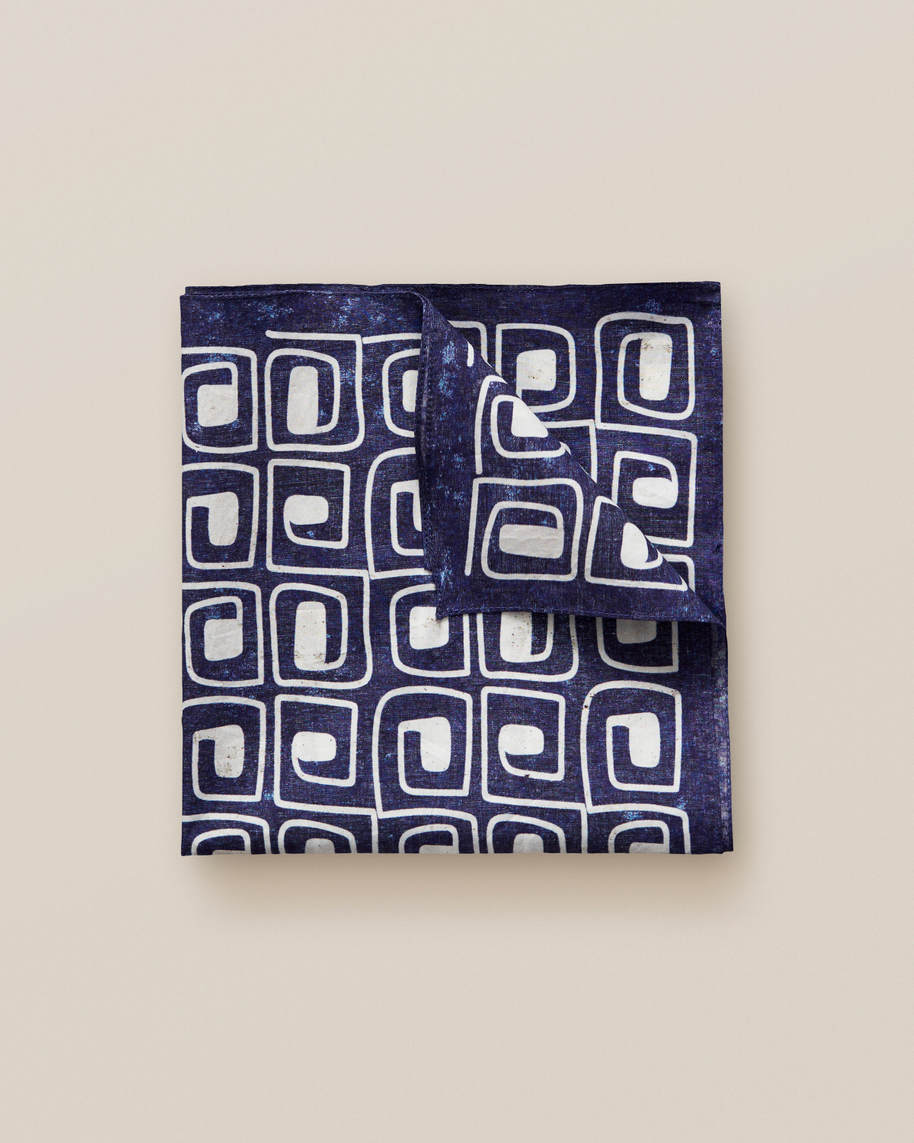 Blue block print pocket square