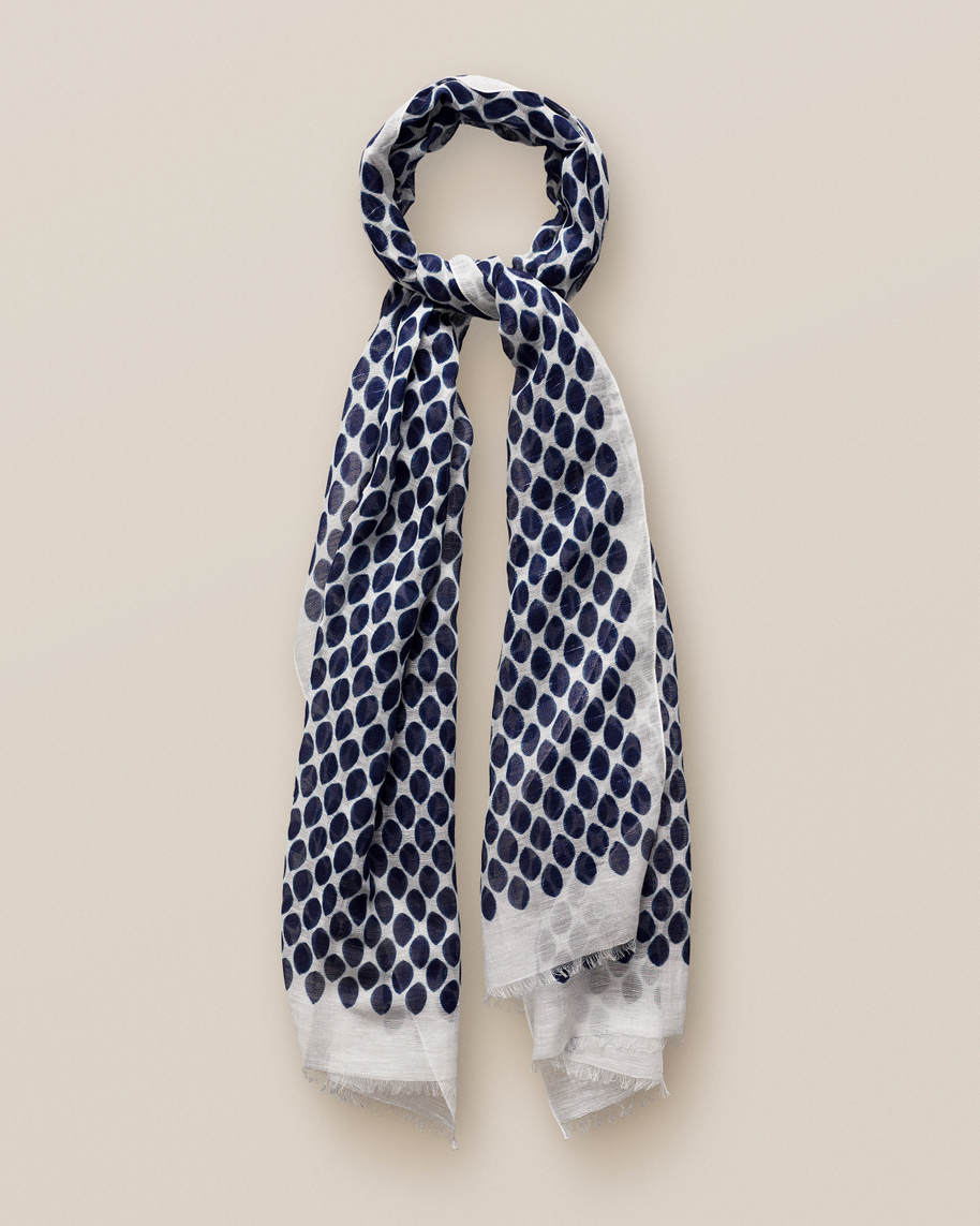 Dotted cotton & linen scarf
