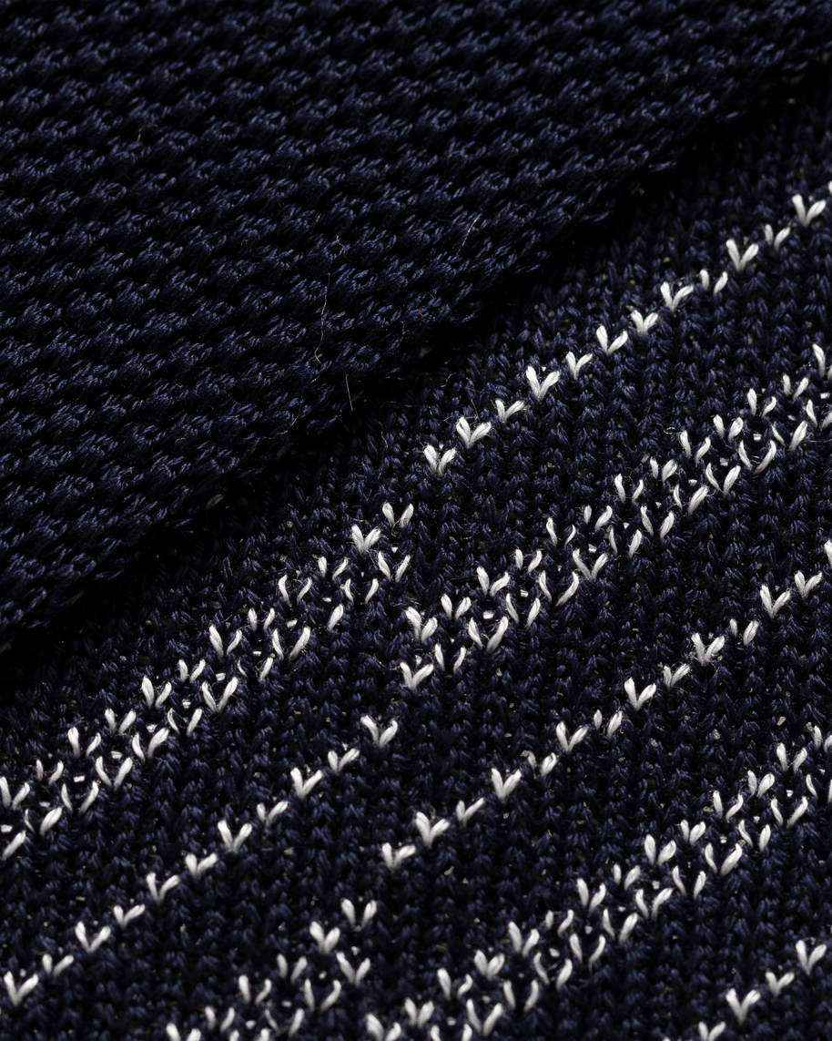 Navy knitted stripes tie