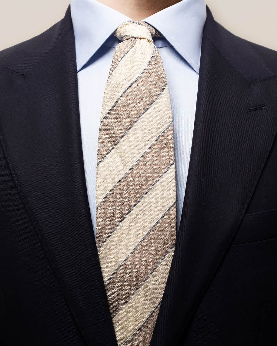Beige striped blend tie