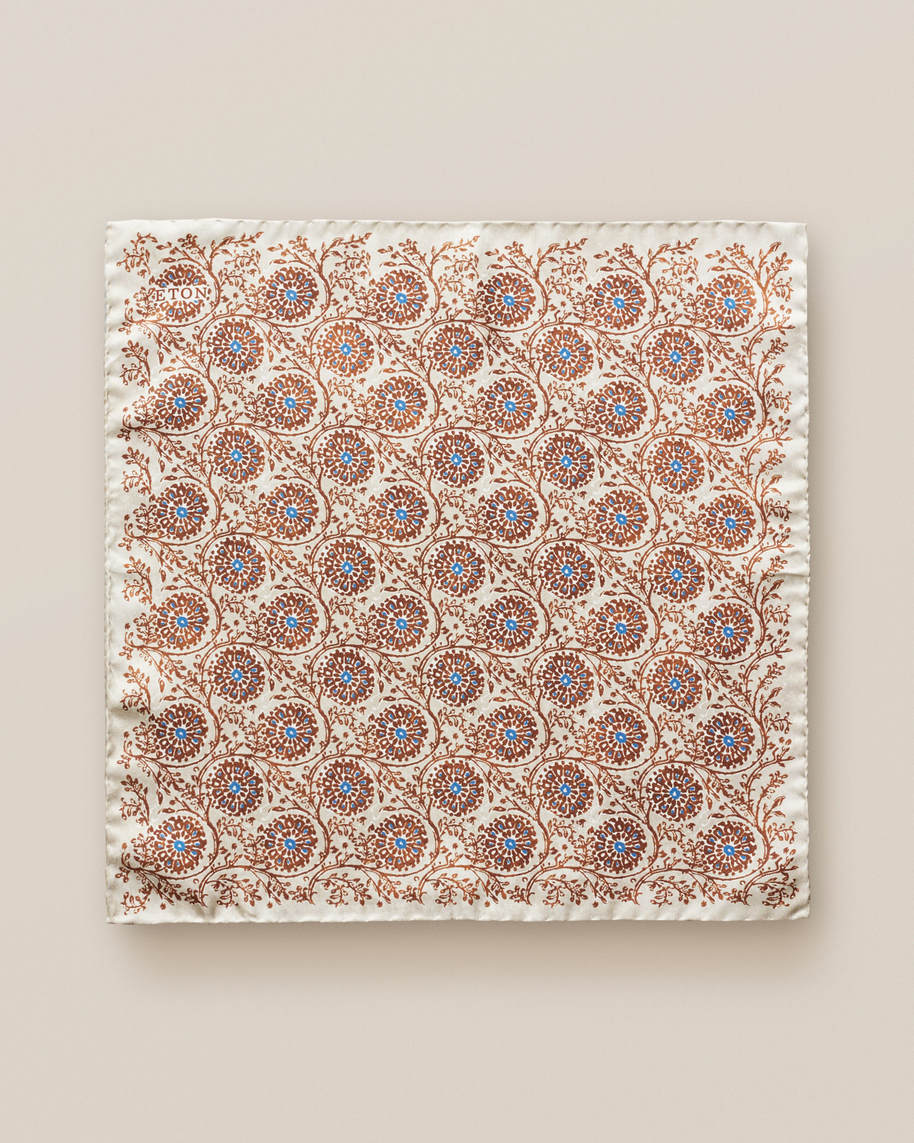 Beige geometric circles pocket square