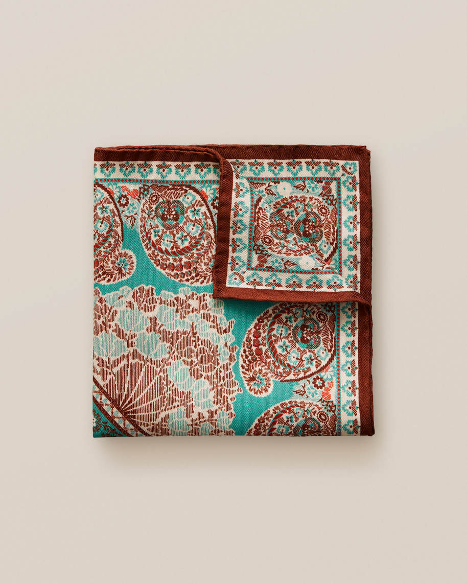 Turquoise paisley cotton & silk pocket square - image 1