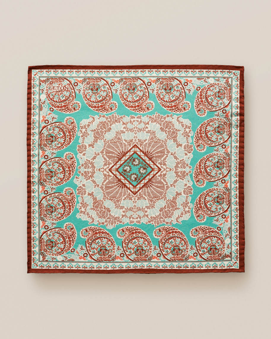 Turquoise paisley cotton & silk pocket square - image 2