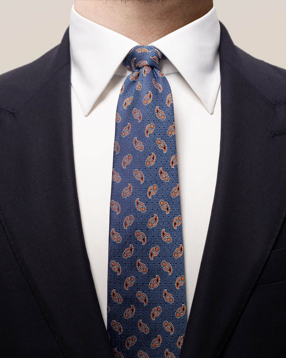Navy & orange paisley tie