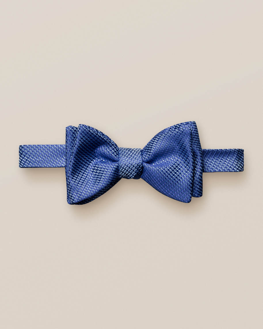 Navy silk bow tie – self tied