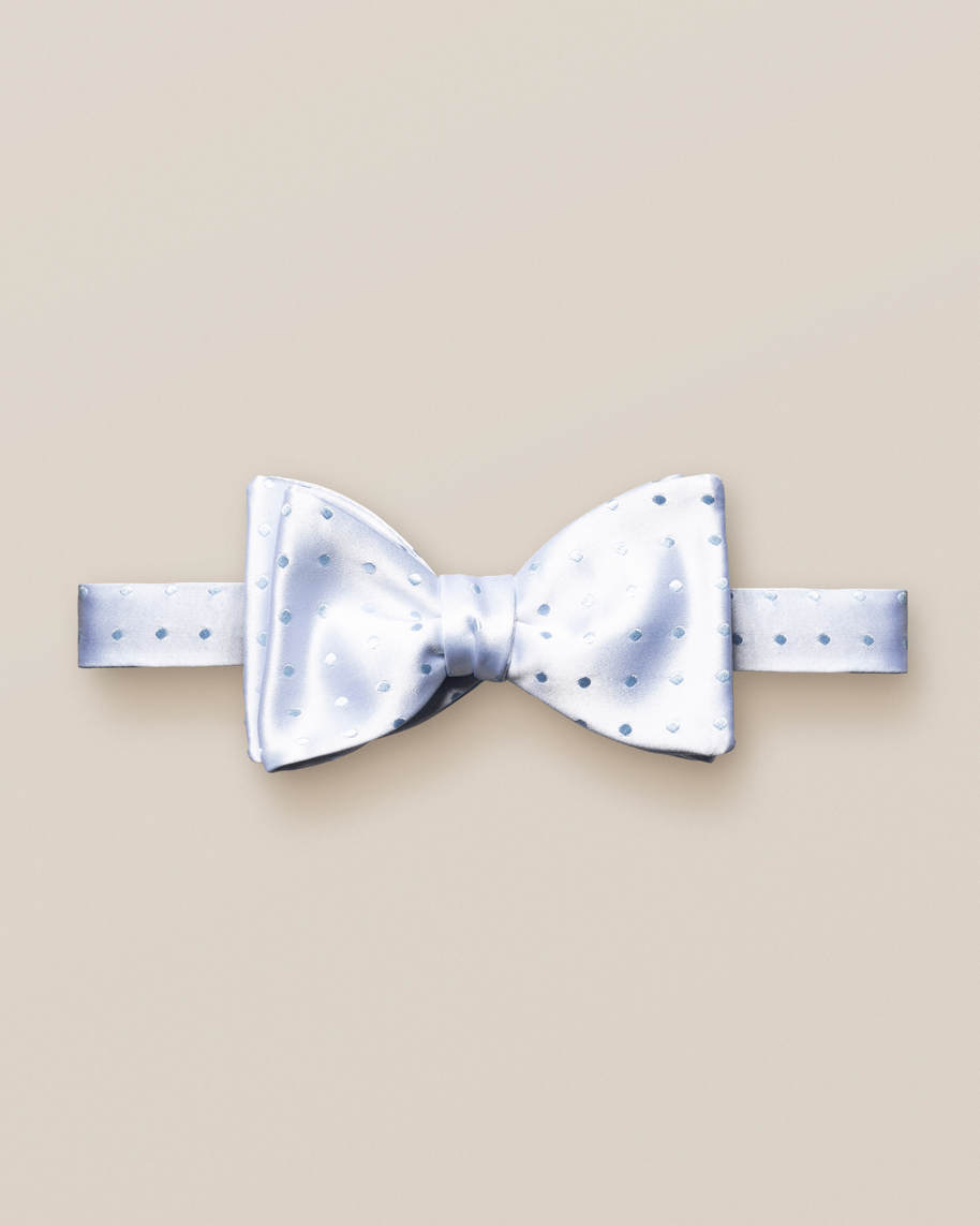 Blue dotted bow tie – self tied