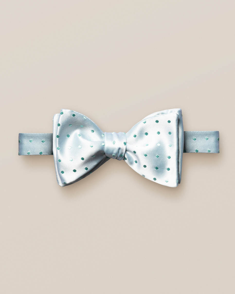 Mint dotted bow tie – self tied