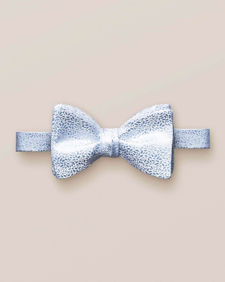 Blue florals bow tie – self tied