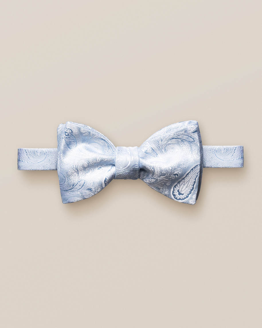 Blue lustrous paisley bow tie – self tied