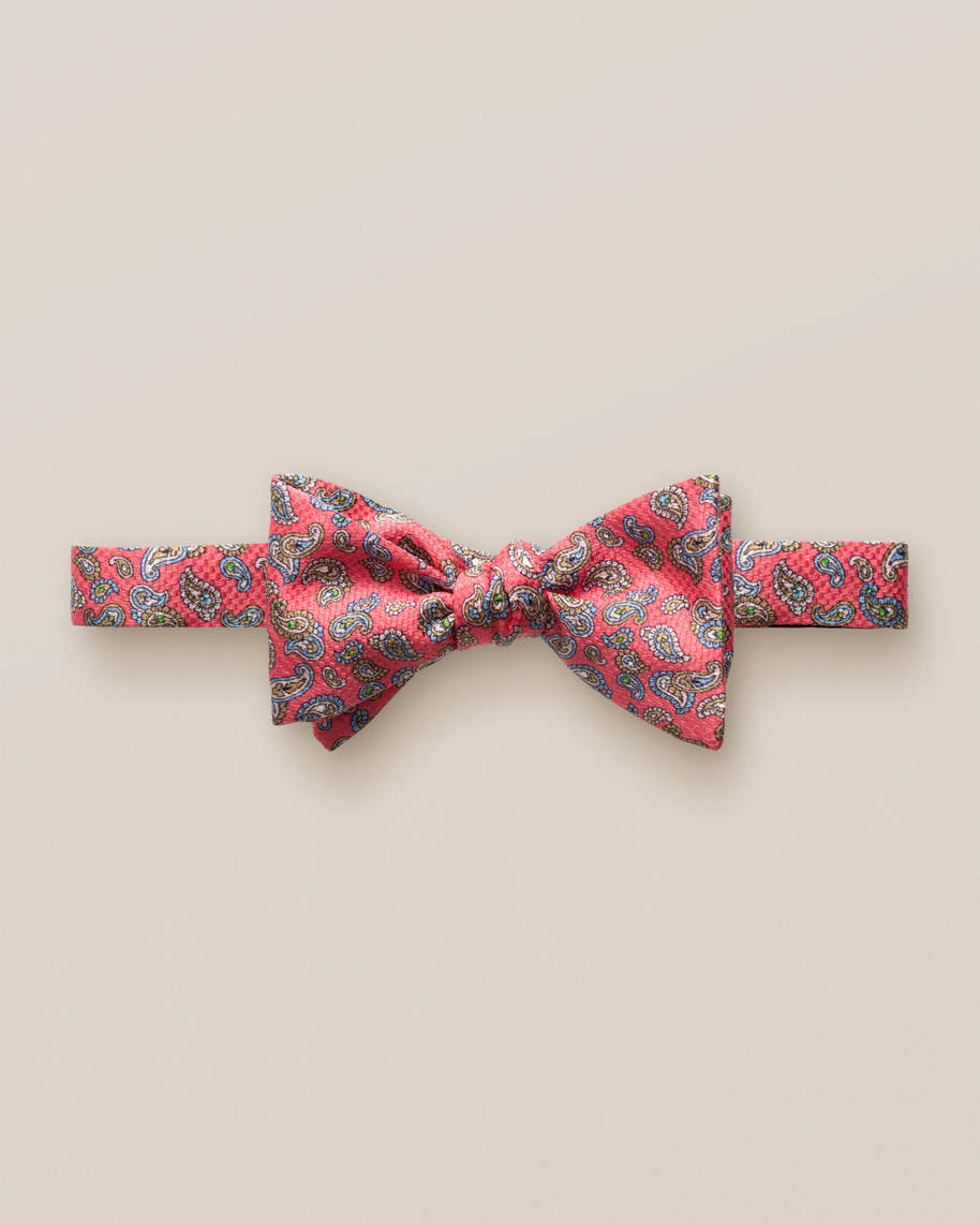 Red mini paisley bow tie – self tied