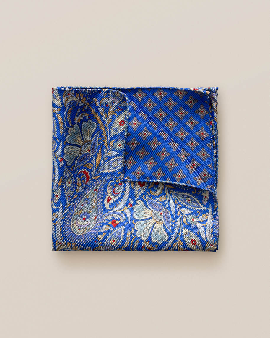 Blue double print pocket square