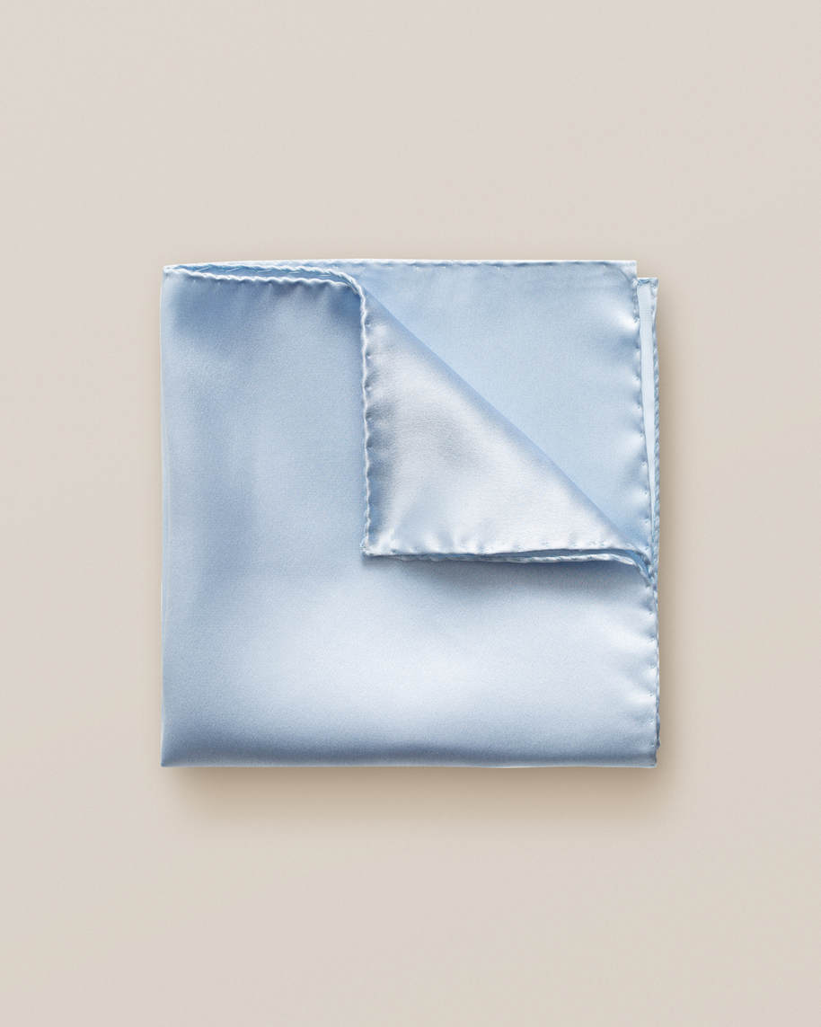 Blue silk pocket square - image 1