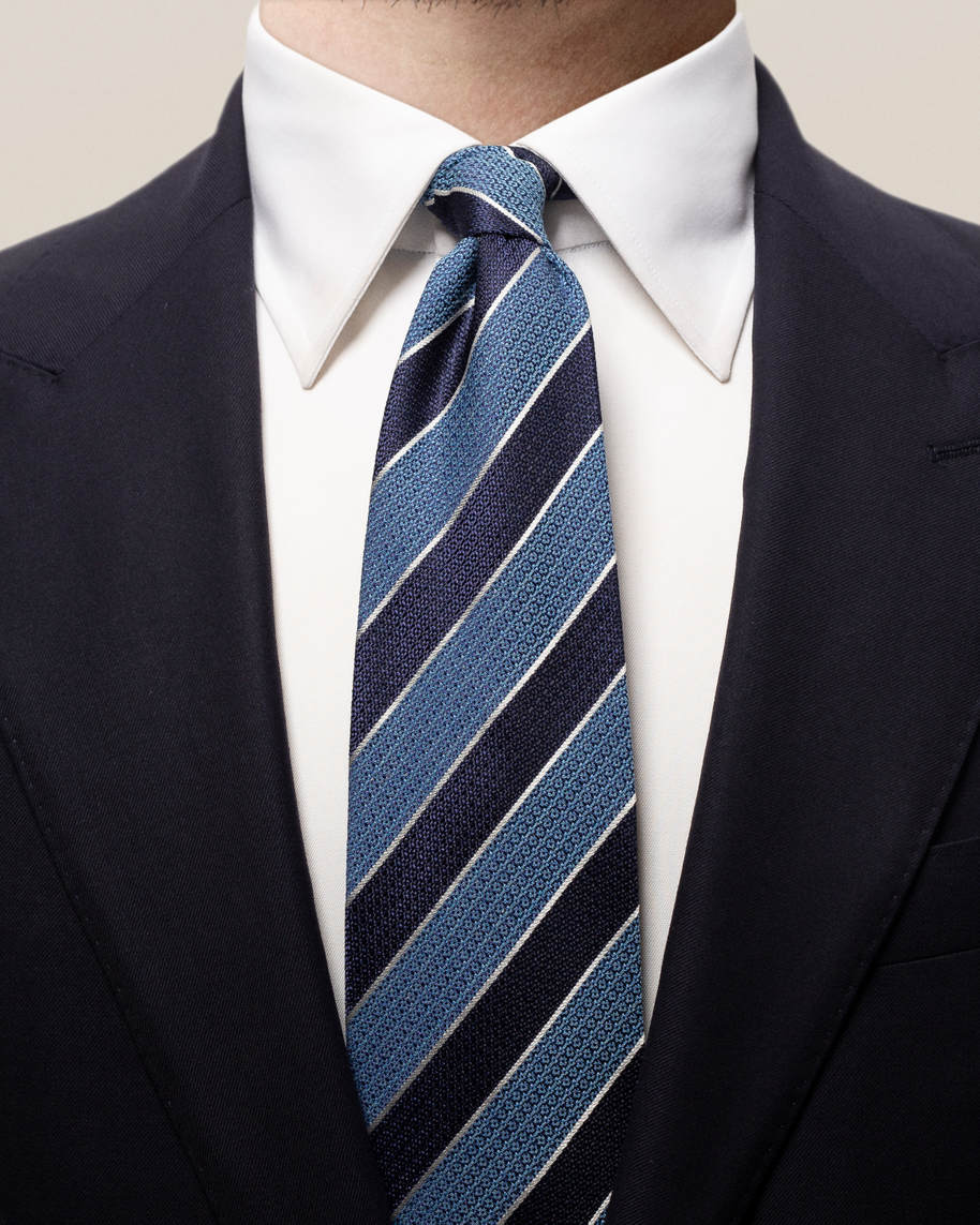 Blue striped cotton silk tie
