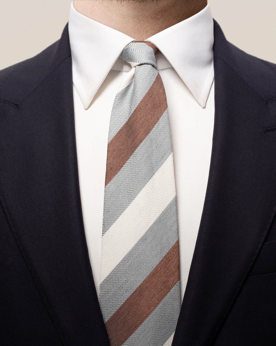 Grey striped linen silk & cotton tie