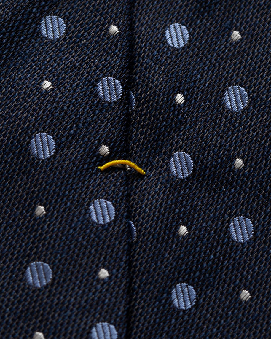 Navy dotted silk cotton tie