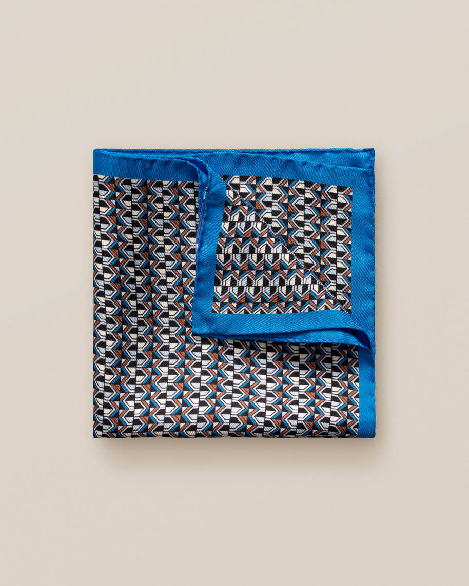 Blue art deco print pocket square
