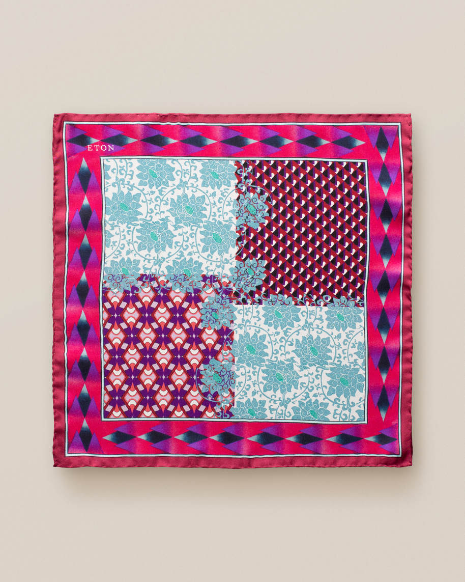 Pink patchwork pocket square