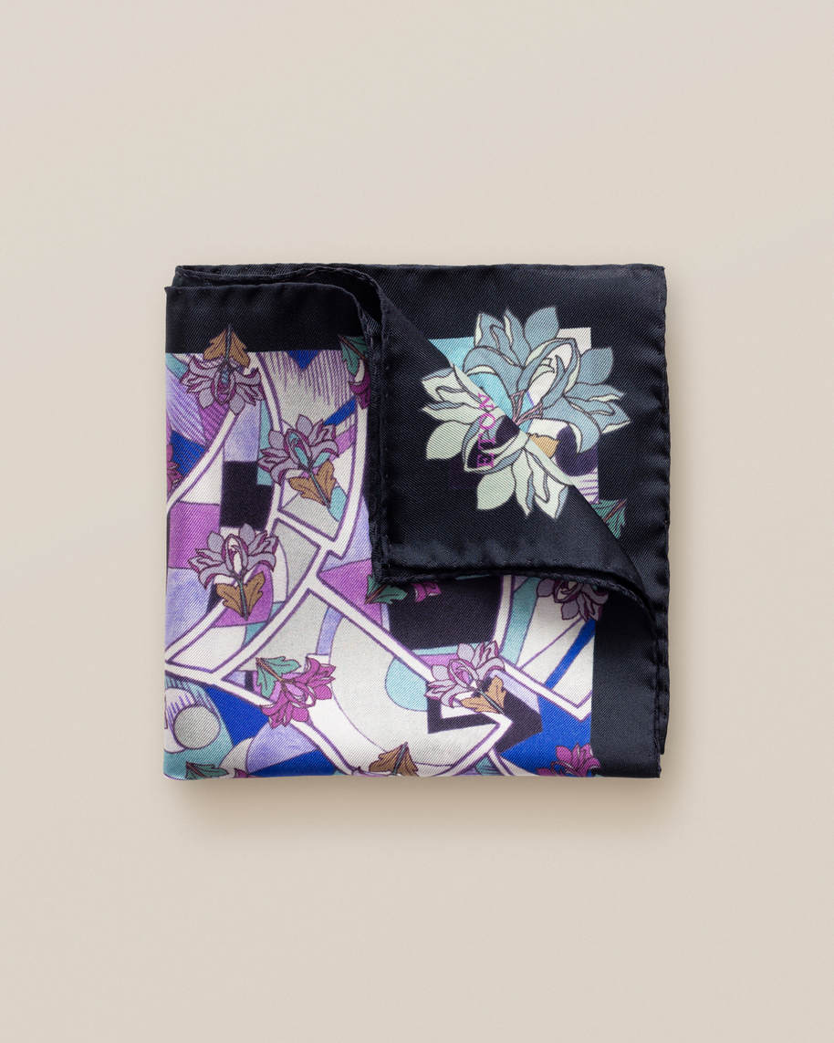 Purple art deco print pocket square - image 1