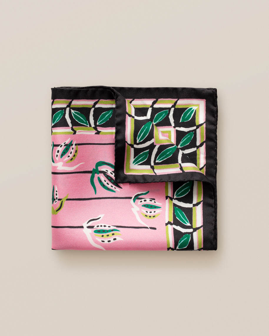 Pink leaf border pocket square