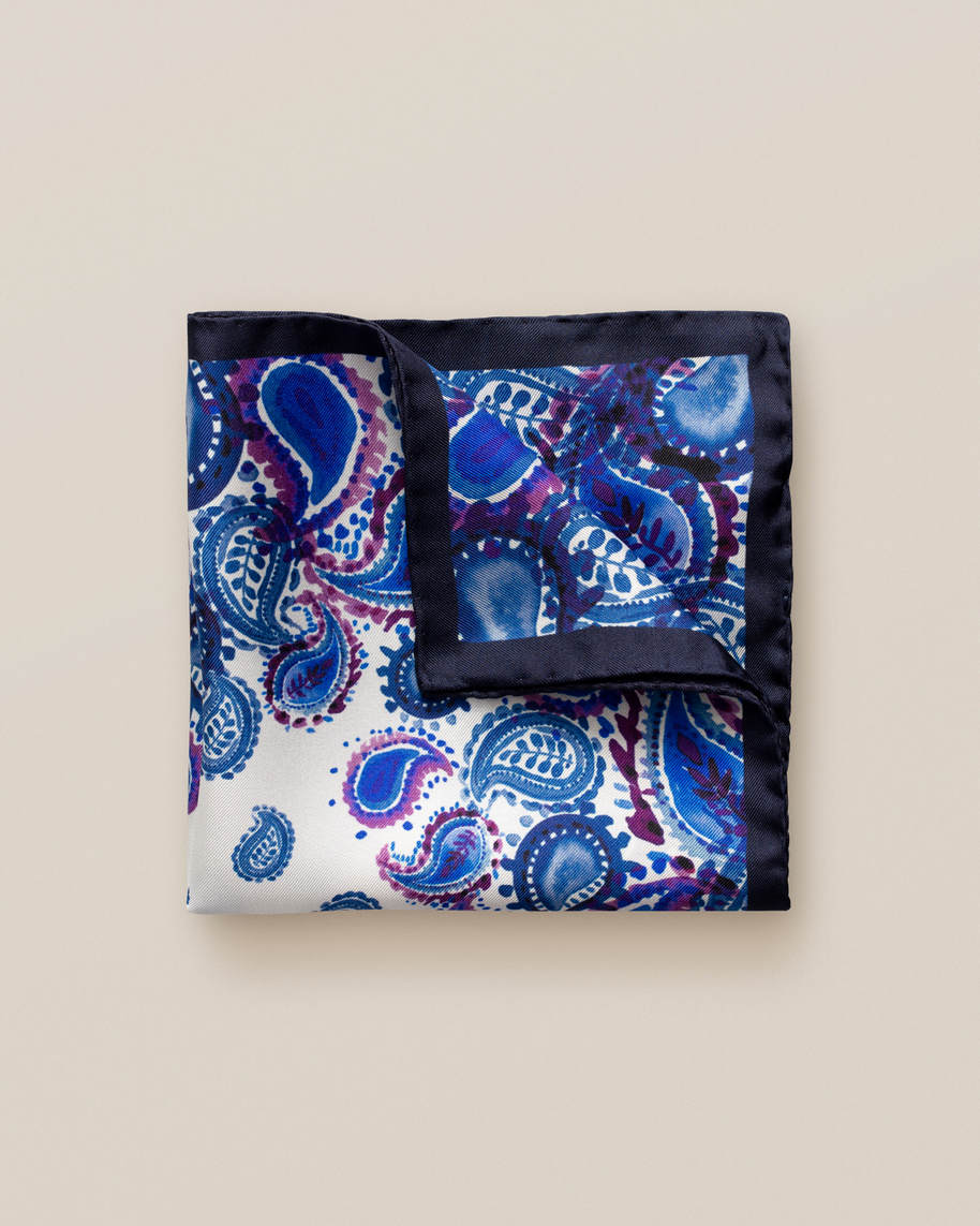 Navy watercolour paisley pocket square
