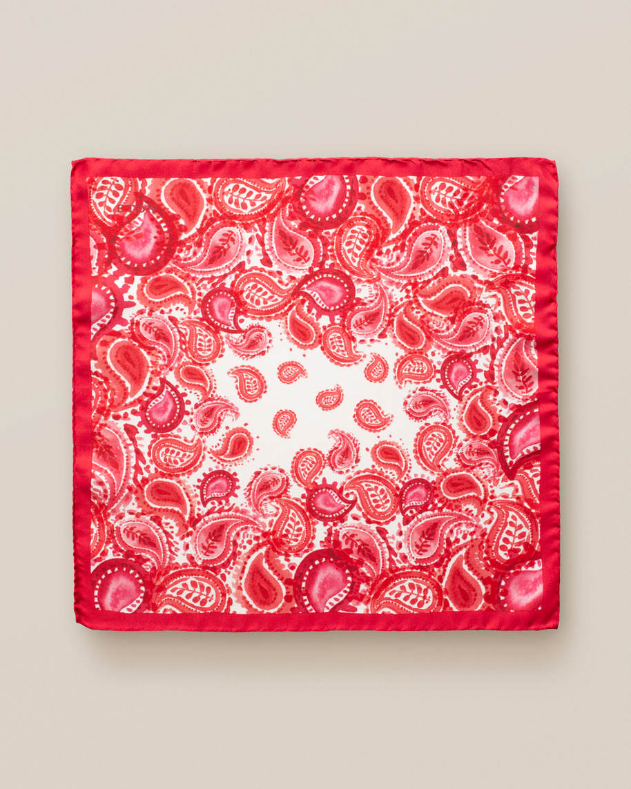 Red watercolour paisley pocket square - image 2