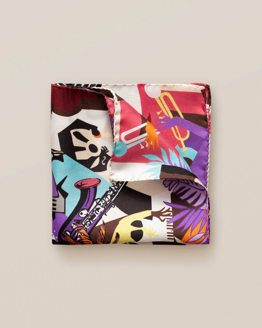 Vibrant music print pocket square