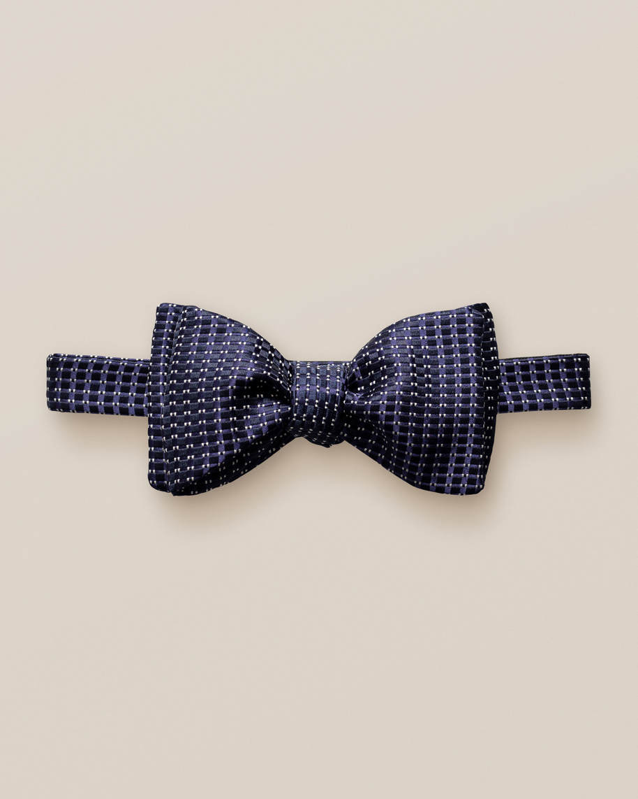 Dark Blue Silk Bow Tie – Self-Tied