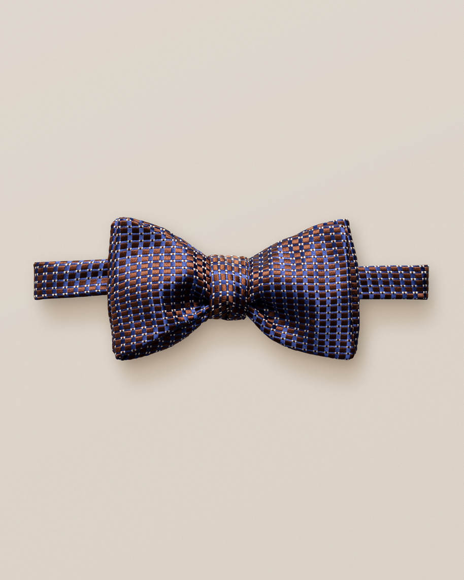Brown & Blue Silk Bow Tie – Self-Tied