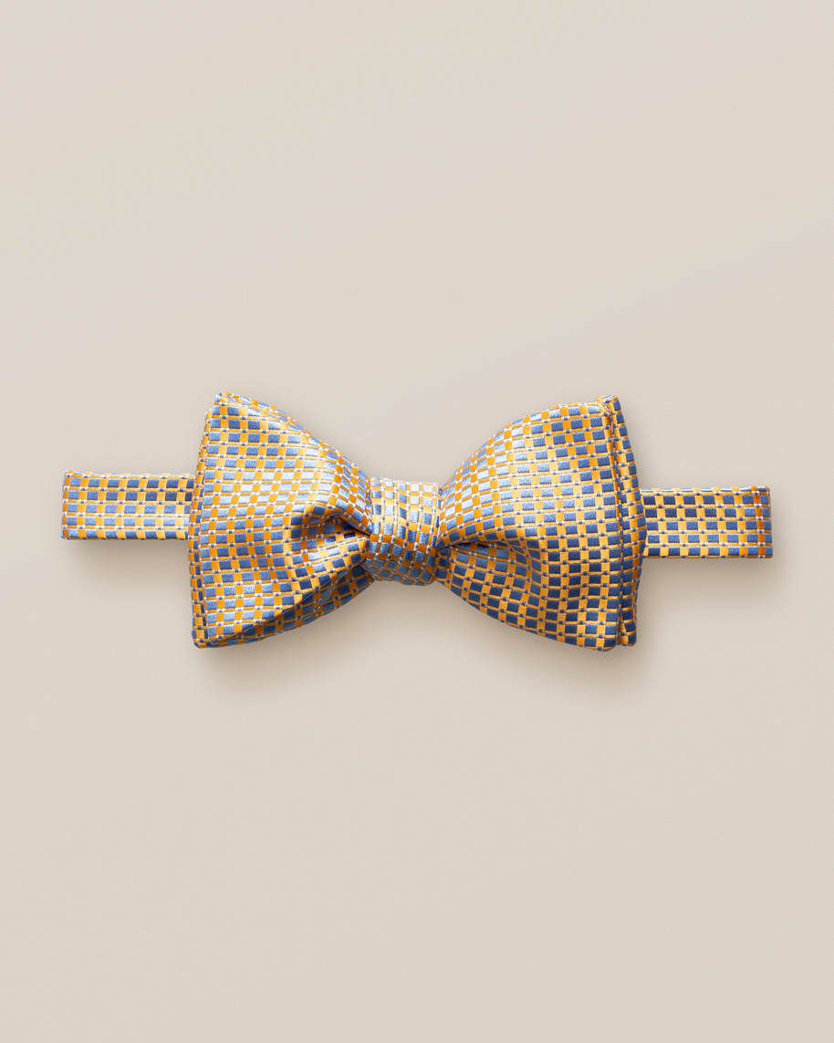 Yellow & Light Blue Silk Bow Tie – Self-Tied